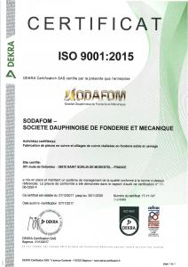 Certificat ISO 9001v2015 - FR